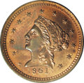 Territorial Gold: , 1861 $2 1/2 Clark, Gruber & Co. Quarter Eagle Copper Dies TrialPR64 Red and Brown PCGS. K-9, High R.7. Lovely orange, ruby...
