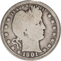 Barber Quarters: , 1901-S 25C Good 4 PCGS. Easily the rarest piece in the Barberquarter series, the 1901-S is most often found in very high g...