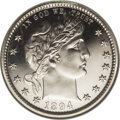 Proof Barber Quarters: , 1894 25C PR66 Cameo NGC. A shimmering Premium Gem that approaches black-and-white status. The well-preserved mirrors are ex...