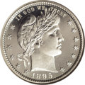 Proof Barber Quarters: , 1895 25C PR66 Cameo NGC. Crisp white frost differentiates the needle-sharp portrait and eagle from the essentially immacula...