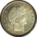 Proof Barber Quarters: , 1896 25C PR66 PCGS. Thin, hazy patina haunts the moderately reflective obverse fields, while deep, subdued blue-green patin...