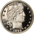 Proof Barber Quarters: , 1899 25C PR67 ★ Cameo NGC. The startling white-on-black contrast seen on both sides of this S...