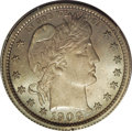 Proof Barber Quarters: , 1900 25C PR66 PCGS. Dusky navy-blue and champagne-rose toning embraces this immaculate and needle-sharp Premium Gem proof. ...