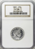 Proof Barber Quarters: , 1902 25C PR66 NGC. Deeply reflective beneath thin steel-gray patina that covers parts of the fields. Well-preserved with a ...