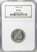 Proof Barber Quarters: , 1904 25C PR65 NGC. Crisply defined devices and strong reflectivity beneath slight haze are the defining characteristics of ...