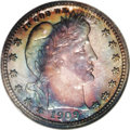 Proof Barber Quarters: , 1909 25C PR68 NGC. Ex: Hugon Collection. Rich navy-blue, crimson-lilac, purple, and honey-gold colors illuminate this razor...