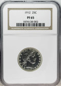 Proof Barber Quarters: , 1912 25C PR65 NGC. This Gem's reverse has pale gold toning, while the bright obverse is untoned except for a spot of rose-o...