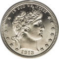 Proof Barber Quarters: , 1913 25C PR67 Cameo PCGS. Ex: Bruce Scher. A flashy Superb Gem with just a hint of golden patina across the lower third of ...