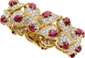 Estate Jewelry:Bracelets, Diamond, Ruby, Platinum, Gold Bracelet, French. ...