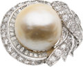 Estate Jewelry:Rings, South Sea Cultured Pearl, Diamond, Platinum Ring, Circa 1950. ...