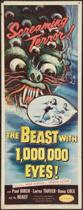 "Movie Posters:Science Fiction, The Beast with 1,000,000 Eyes! (American Releasing Corp., 1955).Insert (14"" X 36""). Science Fiction.. ..."