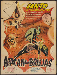 "Santo Attacks the Witches (Producciones Cinematográficas Valdés, 1968). Mexican One Sheet (24"" X 32&q..."