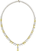 Estate Jewelry:Necklaces, Colored Diamond, Diamond, Platinum, Gold Necklace. ...