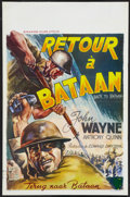 "Movie Posters:War, Back to Bataan (Standard Films, R-1960s). Belgian (14"" X 21.5"").War.. ..."