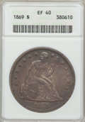 Seated Dollars: , 1869 $1 XF40 ANACS. NGC Census: (3/75). PCGS Population (16/128).Mintage: 423,700. Numismedia Wsl. Price for problem free ...
