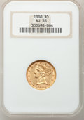 Liberty Half Eagles: , 1888 $5 AU58 NGC. NGC Census: (30/102). PCGS Population (21/139).Mintage: 18,296. Numismedia Wsl. Price for problem free N...