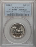 Statehood Quarters, 2004-D 25C Wisconsin Extra Leaf High MS65 PCGS. PCGS Population(780/151). Numismedia Wsl. Price for pr...