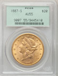 Liberty Double Eagles: , 1887-S $20 AU55 PCGS. PCGS Population (65/716). NGC Census:(29/804). Mintage: 283,000. Numismedia Wsl. Price for problem f...