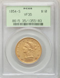Liberty Eagles: , 1854-S $10 VF35 PCGS. PCGS Population (15/238). NGC Census:(5/395). Mintage: 123,826. Numismedia Wsl. Price for problem fr...
