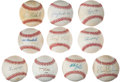 Autographs:Baseballs, Baseball Stars Single Signed Baseball Lot Of 10....