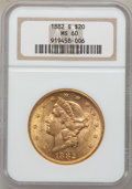 Liberty Double Eagles: , 1882-S $20 MS60 NGC. NGC Census: (199/557). PCGS Population(87/637). Mintage: 1,125,000. Numismedia Wsl. Price for problem...
