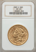 Liberty Double Eagles: , 1863-S $20 XF45 NGC. NGC Census: (231/621). PCGS Population(83/285). Mintage: 966,570. Numismedia Wsl. Price for problem f...