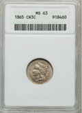 Three Cent Nickels: , 1865 3CN MS63 ANACS. NGC Census: (351/671). PCGS Population(484/614). Mintage: 11,382,000. Numismedia Wsl. Price for probl...