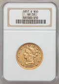 Liberty Eagles: , 1857-S $10 VF35 NGC. NGC Census: (4/52). PCGS Population (7/58).Mintage: 26,000. Numismedia Wsl. Price for problem free NG...