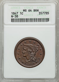 1847 1C MS64 Brown ANACS. N-38. NGC Census: (93/71). PCGS Population (37/10). Mintage: 6,183,669. Numismedia Wsl. Price...