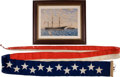 Military & Patriotic:Civil War, Commissioning Pennant and Watercolor Painting of the USS Pursuit, Circa 1862-63.... (Total: 2 Items)