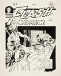 """Original Comic Art:Covers, Al Dellinges Infinity Inc. #4 (Flash Comics #71Golden Age Hawkman Cover and 9-Page Story """"The Land of... (Total:10 Items)"""