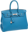 Luxury Accessories:Bags, Hermes 35cm Blue Jean Clemence Leather Birkin Bag with Palladium Hardware. ...