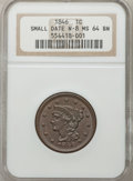 1846 1C Small Date MS64 Brown NGC. N-8. NGC Census: (61/43). PCGS Population (20/4). Mintage: 4,120,800. Numismedia Wsl...