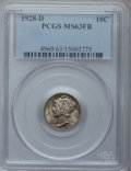 Mercury Dimes: , 1928-D 10C MS63 Full Bands PCGS. PCGS Population (56/215). NGCCensus: (21/84). Mintage: 4,161,000. Numismedia Wsl. Price f...