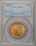 Liberty Eagles: , 1906-D $10 MS62 PCGS. PCGS Population (1015/636). NGC Census:(1253/749). Mintage: 981,000. Numismedia Wsl. Price for probl...
