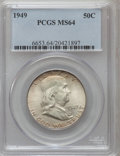 Franklin Half Dollars: , 1949 50C MS64 PCGS. PCGS Population (422/193). NGC Census:(333/266). Mintage: 5,614,000. Numismedia Wsl. Price for problem...