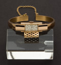 Timepieces:Wristwatch, Swiss 18 Gold Bangle Bracelet Watch With Covered Dial. ...