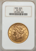 Liberty Double Eagles: , 1890 $20 AU58 NGC. NGC Census: (89/477). PCGS Population (65/514). Mintage: 75,995. Numismedia Wsl. Price for problem free ...