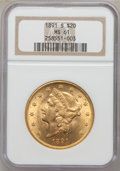 Liberty Double Eagles: , 1891-S $20 MS61 NGC. NGC Census: (2010/2333). PCGS Population(881/2525). Mintage: 1,288,125. Numismedia Wsl. Price for pro...