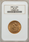 Liberty Eagles: , 1905-S $10 AU53 NGC. NGC Census: (32/465). PCGS Population(36/226). Mintage: 369,250. Numismedia Wsl. Price for problem fr...