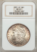 Morgan Dollars: , 1891-CC $1 MS61 NGC. NGC Census: (672/5641). PCGS Population(908/10444). Mintage: 1,618,000. Numismedia Wsl. Price for pro...