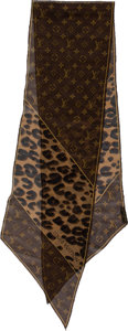Luxury Accessories:Accessories, Louis Vuitton Leopard & Monogram Silk Scarf. ...