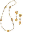 Luxury Accessories:Accessories, Salvatore Ferragamo Costume Pearl and Gilt Gold Necklace &Earrings Set. ...