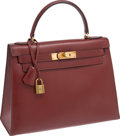 Luxury Accessories:Bags, Hermes 32cm Rouge H Calf Box Leather Rigide Kelly Bag with GoldHardware. ...