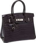 Luxury Accessories:Bags, Hermes 30cm Shiny Graphite Nilo Crocodile Birkin Bag with PalladiumHardware. ...