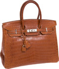 Luxury Accessories:Bags, Hermes 35cm Matte Fauve Porosus Crocodile Birkin Bag with Palladium Hardware. ...