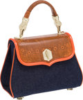 Luxury Accessories:Bags, Kieselstein-Cord Burnt Orange Ring Lizard & Blue DenimSignature Trophy Bag. ...