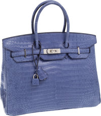Hermes 35cm Matte Brighton Blue Porosus Crocodile Birkin Bag with Palladium Hardware