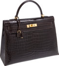 Luxury Accessories:Bags, Hermes 35cm Shiny Chocolate Porosus Crocodile Kelly Bag with GoldHardware. ...