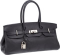 Luxury Accessories:Bags, Hermes Black Clemence Leather JPG Shoulder Birkin Bag withPalladium Hardware. ...